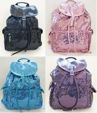 NEW HANDBAG EXPRESS BLUE+PINK+BLACK+PURPLE SEQUIN DRAWSTRING BACKPACK+DUST BAG