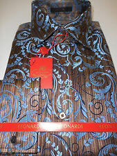 Mens Brown & Blue Embellished Leonardi Shirt French Cuff High Collar Style 276
