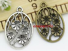 10/50pcs Antique Silver/Bronze Round Flower Alloy Jewelry Charms Pendant 32x21mm