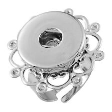 Wholesale Lots Hollow Adjustable Ring Fit Snap Buttons Size 8 Silver Tone