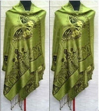 Noble Double-Faced Green Chinese Butterfly Women Pashmina Silk Shawl/Scarf 134