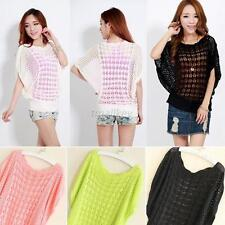 Fashion Womens Batwing Sleeve Loose Hollow out Pullover Knit Tops Blouse Sweater