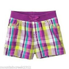 JUMPING BEANS Girls Shorts Size 2T Gingham Check Cotton Purple Toddler NEW