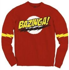 Adult Red Comedy TV Show The Big Bang Theory Bazinga! Sheldon Logo Knit Sweater