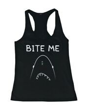 Women's Graphic Tanks - SHARK BITE ME Black Cotton Sleeveless Tank Top