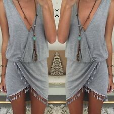 Women Summer Boho Tassels Asymmetrical Cocktail Party Evening Mini Bodycon Dress