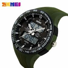 SKMEI Mens Date LED Digital Analog Military Sport Quartz Wrist Watch Rubber Band