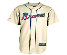 NWT Majestic Atlanta Braves MLB Kids Alternate Ivory Replica Jersey