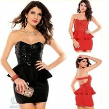 AU Strapless Sequin Mini Sexy Bodycon Formal Prom Evening Cocktail Peplum Dress