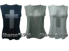 NEW WOMENS MOSAIC STUDDED CROSS TOP LADIES SLEEVELESS T-SHIRT / VEST.SIZES 8-14.