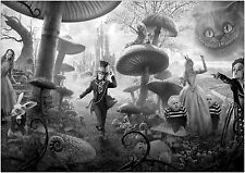Alice In Wonderland Giant Poster Art Print Black & White in Card or Canvas