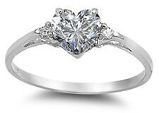 925 Pure Sterling Silver CZ Heart Solitaire Engagement Promise Ring Small Sizes