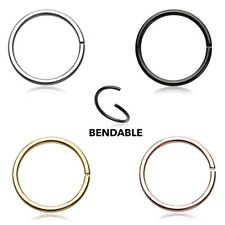 Bendable Steel Nose Hoop Rose Gold Silver Black 20g 18g Body Jewelry Ring Sexy