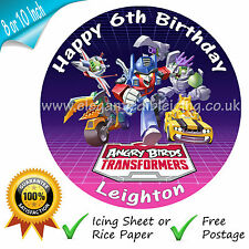 ANGRY BIRDS TRANSFORMERS EDIBLE ROUND PRINTED BIRTHDAY CAKE TOPPER DECORATION