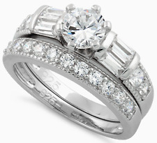 925 Sterling Silver Zirconia CZ Wedding Engagement Ring Set Large Size 5 - 13