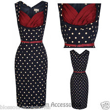 RKB14 Lindy Bop Vanessa Wiggle Pencil Dress Pin Up Polka Dots 50s Rockabilly