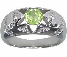 Peridot Gemstone Dome Design Sterling Silver Ring