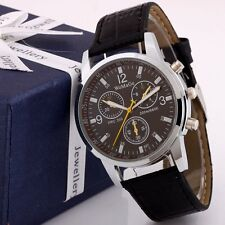 Fashion Men's Round Dial Faux Leather Stailess Steel Analog Quartz Wrist Watch