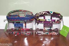 Vera Bradley PLUM CRAZY or VENETIAN PAISLEY Clear 311 3-1-1 COSMETIC Case NWT