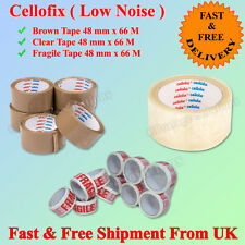 CELLOFIX LOW NOISE PACKING PARCEL TAPE BROWN/CLEAR/FRAGILE 48MMX66M BEST QUALITY
