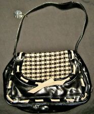 "LULU Guinness Black & White Handbag Purse Attractive Fabric Polyester 10"" PVC"