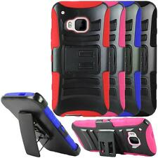 For HTC One M9 Case, Heavy Duty Dual Layer Combo Holster With Kickstand