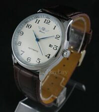 Classic Mens Automatic Mechanical Date Day Leather Stainless Steel Wrist Watch