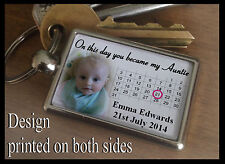 Metal keyring key fob, Personalised gift, on this day you became my Auntie.