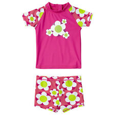 H2O Baby Girls Flower Power UPF40+ Protection 2pc Sunsafe Swim Set Pink Lime