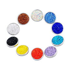 Wholesale Lots Snap Buttons Fit Bracelet Rhinestone Polymer Clay Mixed 20mm
