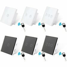 UK 1/2/3 Gang Crystal Glass Dimmer Panel Touch LED Light Wall Switches + Remote
