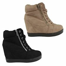 Womens Mid Heel Wedge Platform Lace Up High Top Ladies Ankle Trainers Boots Size