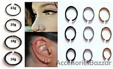 Fake Piercing Ring-Eyebrow, Lip, Nose Ring Hoop Studs-Helix Cartilage Earring