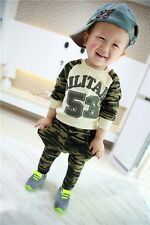 New Baby Boys Toddler Army Pattern Military Clothing Set Long Sleeve Top + Pants