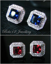 Square Cut Stud Earring/18K White Gold Plated/Red/Sapphire Cubic Zirconia/RGE491