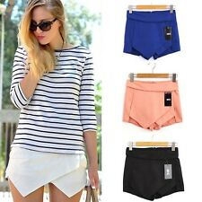 Fashion Tiered Mini Wrap Asymmetric Culottes Skort Invisible Skirt Women Short