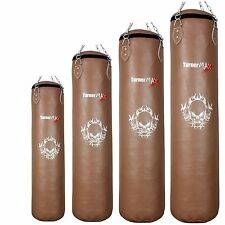 TurnerMAX Punch Bag Filled Cowhide Leather Kick Boxing Training Gloves Pad Bags