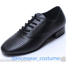 Men Black Calf Leather Latin Tango Modern Jazz Waltz Ballroom Salsa Dance Shoes