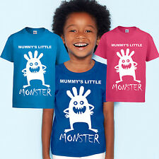 kids t-shirts mummy's little monster childrens tshirt funny tees pink blue new