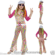 CK439 Groovy Glam 70s Hippie Disco Retro Book Week Fancy Dress Up Girls Costume