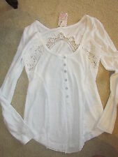 New Free People Keepsake Long Sleeved Crochet Detail Shirt Color Choice!! $68