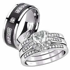 4 Pcs Her Sterling Silver Heart CZ His Titanium Engagement Wedding Ring Band Set
