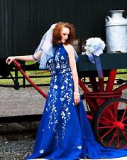 Blue Denim Embroidered Halter Western Wedding Dress