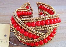 Braided Bracelet Crossed Plastic Gold Seed Bead Chunky Wide Cuff Fashion Jewelry
