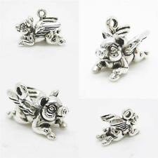 PIG FLYING WINGS FLY 925 Sterling Silver Charm Pendant w Spacer Bracelet Chain