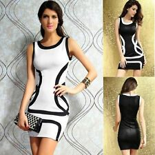 Sexy Mini Sleeveless Bodycon Fit Black White Evening Casual Party Clubwear Dress