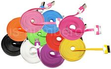 2x 6ft Color Flat Noodle USB Data Sync Charger Cable for iPhone 4 4G 4S 3GS 2G