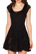 New Women's Sexy Black Dress Lace Cocktail Club Party Short Sleeve Dress