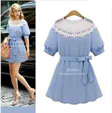 Summer new big size women hollow lace short sleeve cotton blend Slim dress
