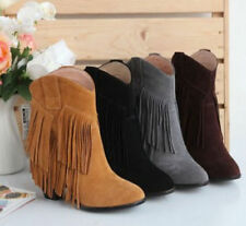 Womens Cowboy Suede Fashion Ankle Fringe Tassels Western Boots High Heels Shoes
